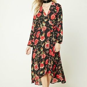 Forever 21 Contemporary Long Sleeve Wrap Dress